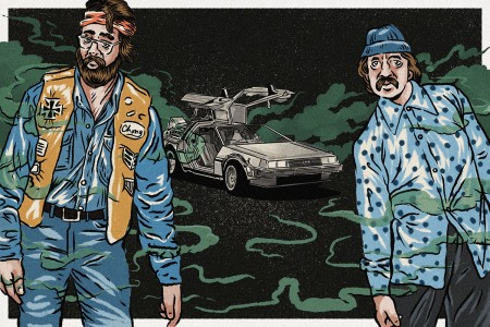 Cheech and Chong exiting the Dolorean from Back to the Future