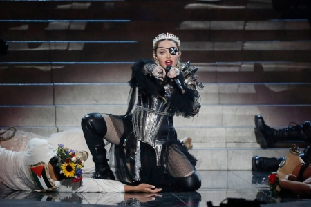 Madonna performs live on stage after the 64th annual Eurovision Song Contest held at Tel Aviv Fairgrounds on May 18, 2019 in Tel Aviv, Israel.