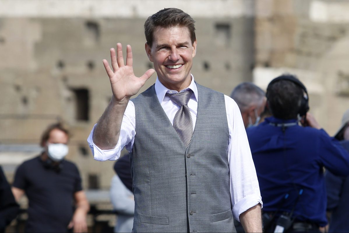 Tom Cruise on the set of Mission Impossible 7
