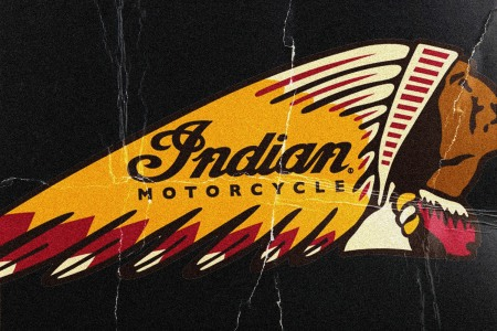 Indian Motorcycles Native American headdress logo on a black background