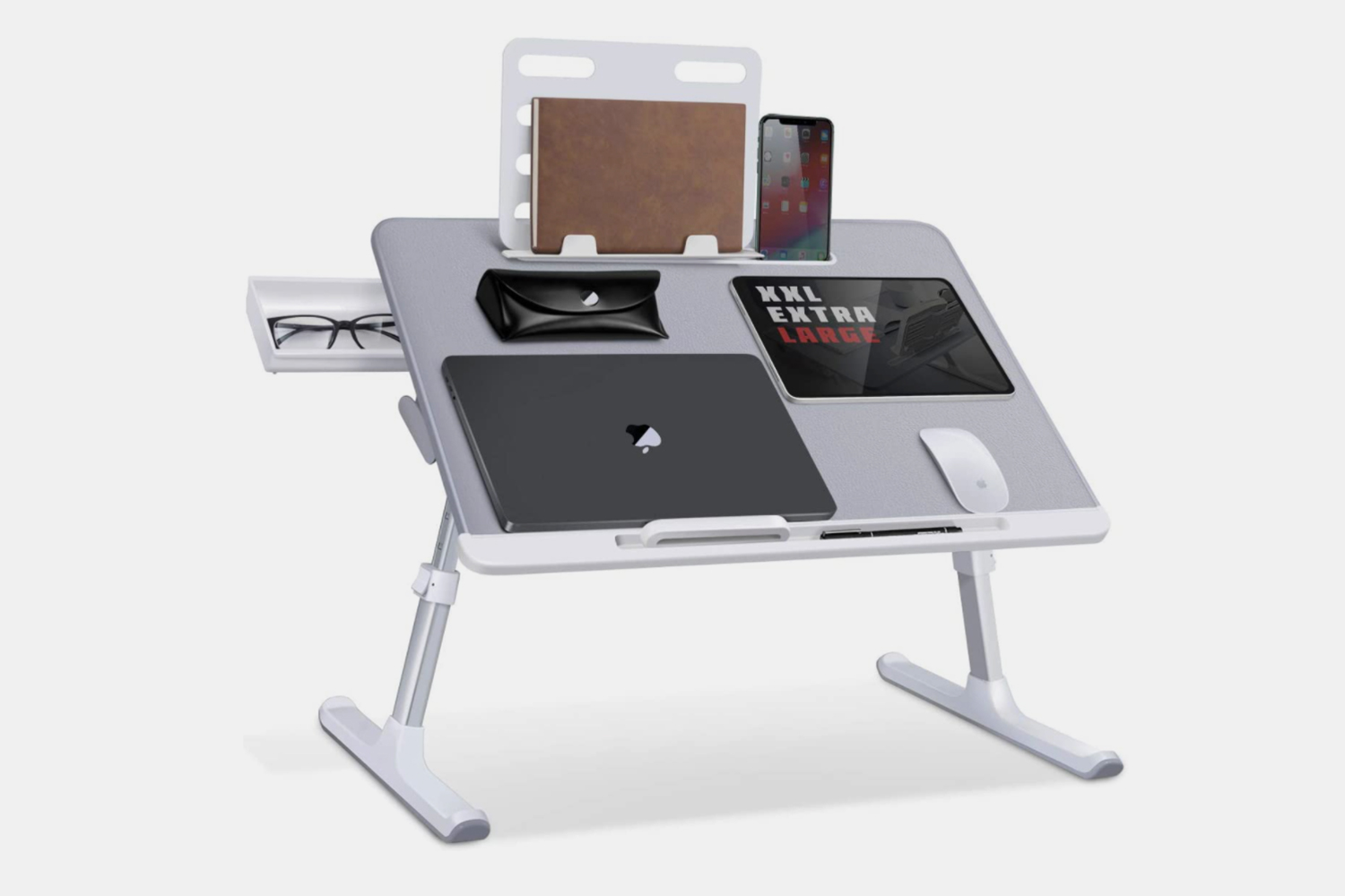 Laptop Bed Tray Desk, SAIJI Adjustable Laptop Stand for Bed, Foldable Laptop Table with Storage Drawer