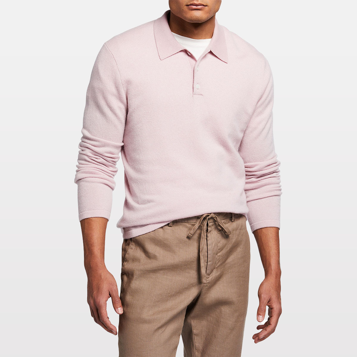 Vince Wool-Cashmere Birdseye Polo Shirt NEIMAN MARCUS