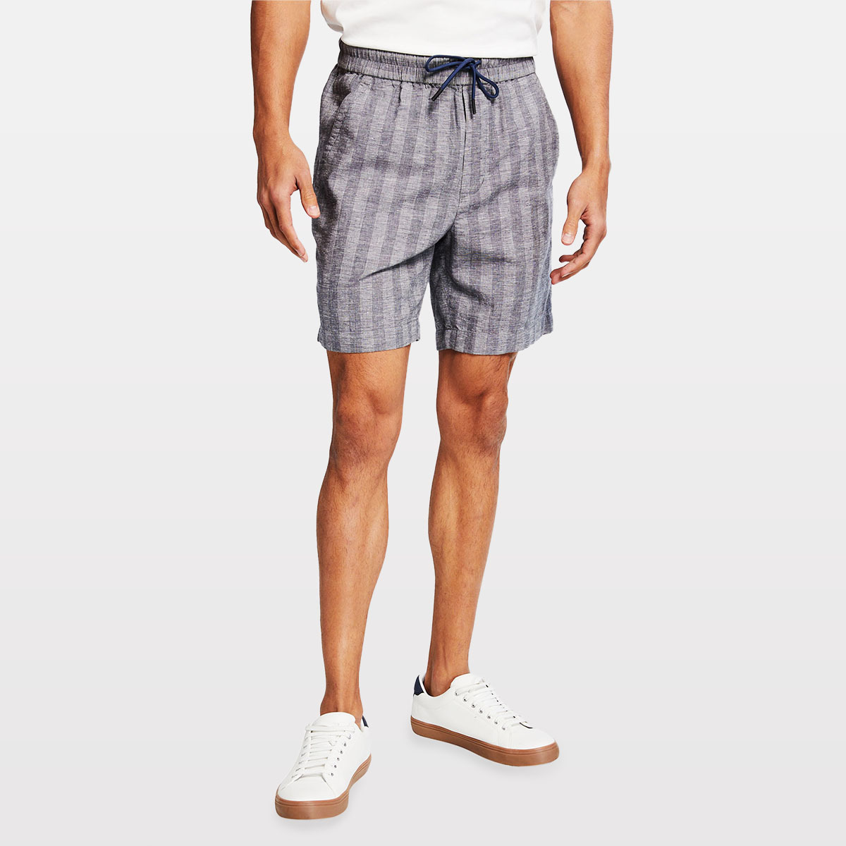 Vince Textured-Stripe Drawstring Shorts neiman marcus