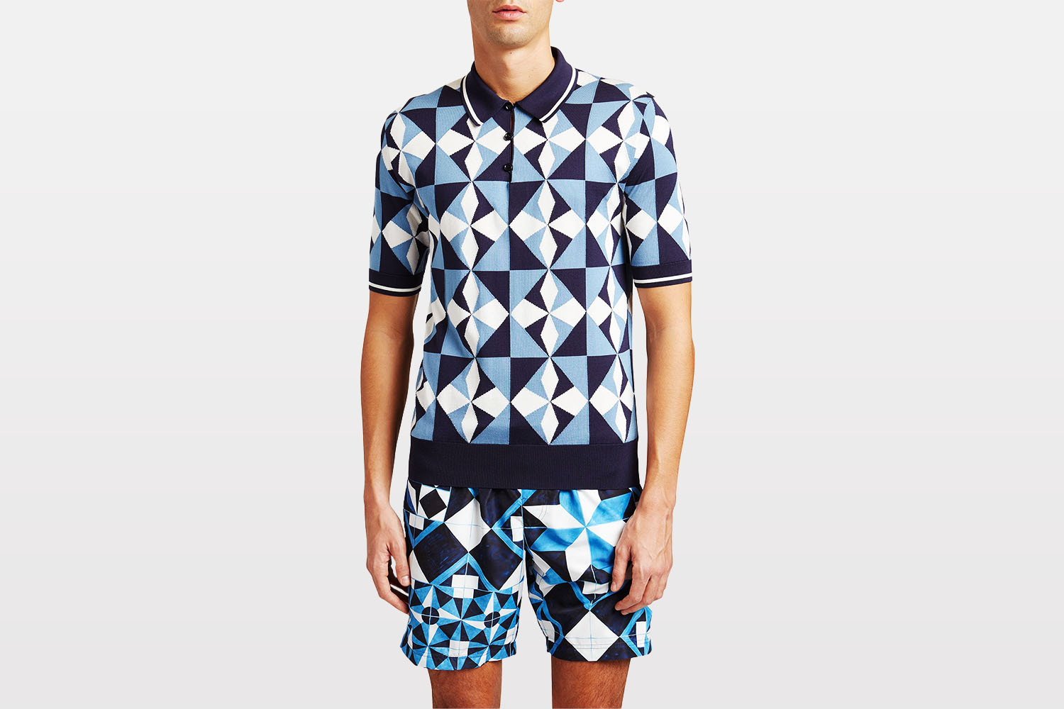 Dolce & Gabbana Allover Intarsia Polo Shirt from Neiman Marcus