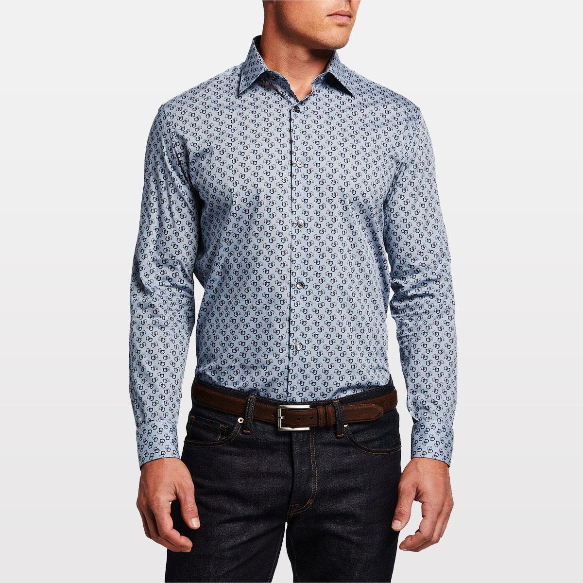 Salvatore Ferragamo Men's Gancini-Print Sport Shirt