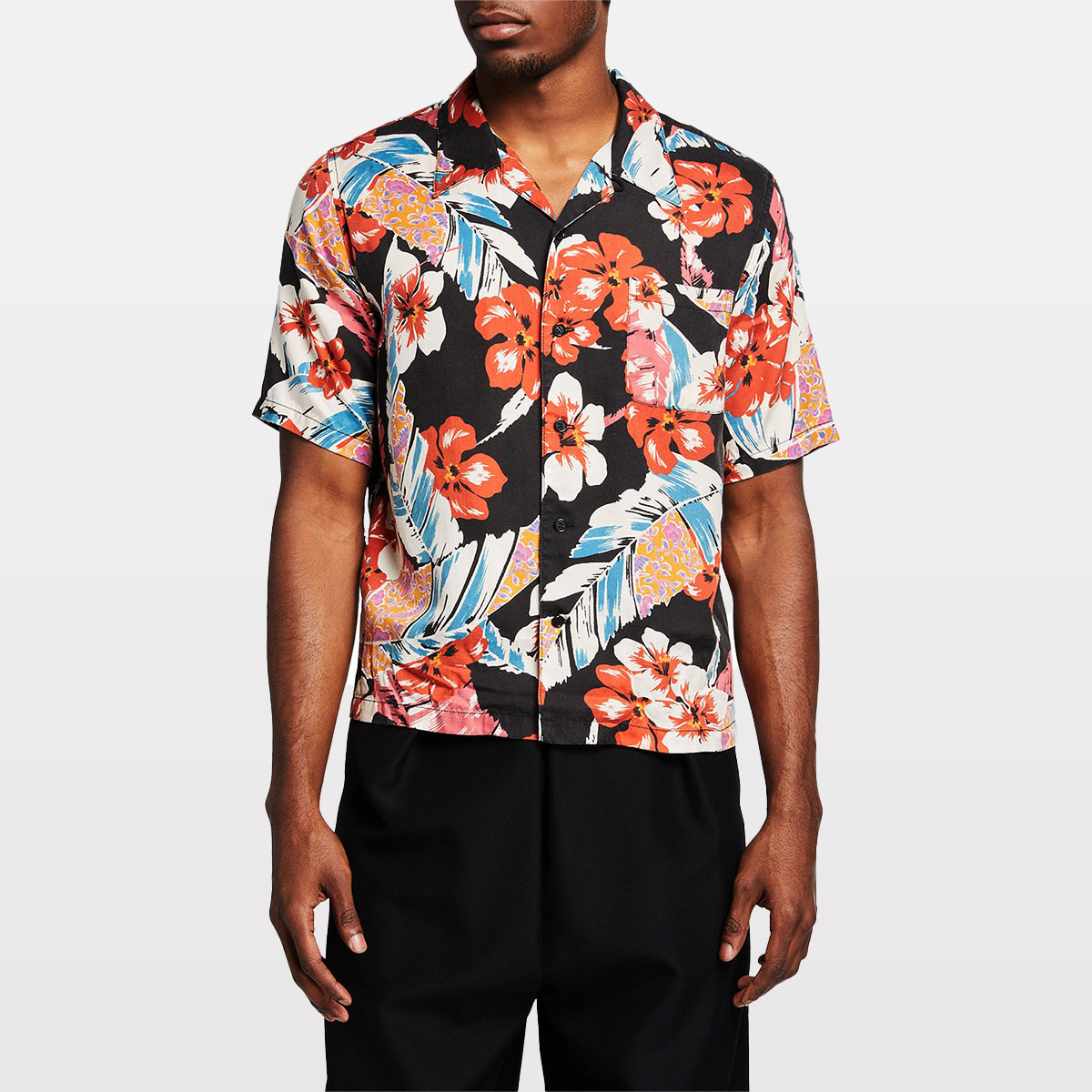 Saint Laurent Men's Hawaiian-Print Camp Shirt