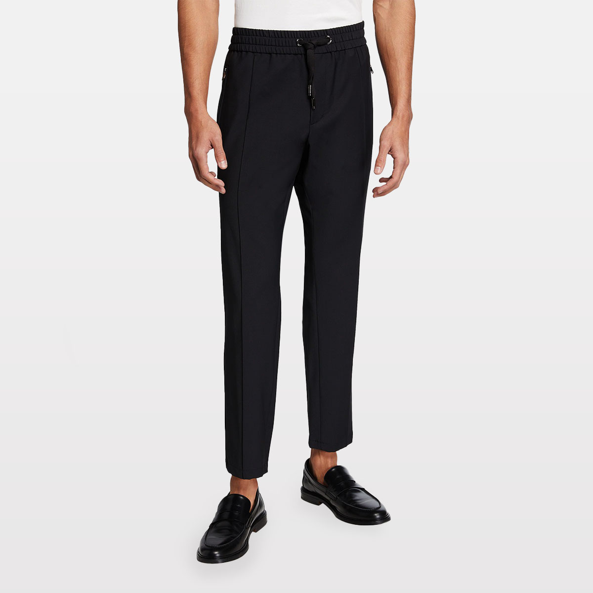 Dolce & Gabbana Men's High-Waist Wool Jogger Pants