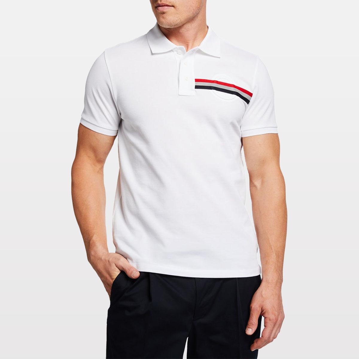 Moncler Men's Polo Shirt w/ Stripe Detail