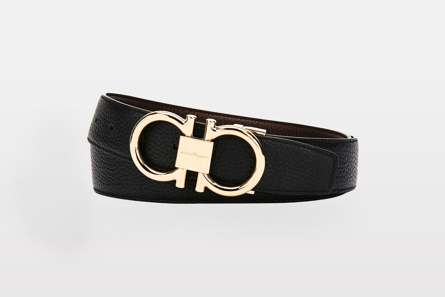 Salvatore Ferragamo Reversible Leather Belt With Rose-Tone Gancini Buckle from Neiman Marcus