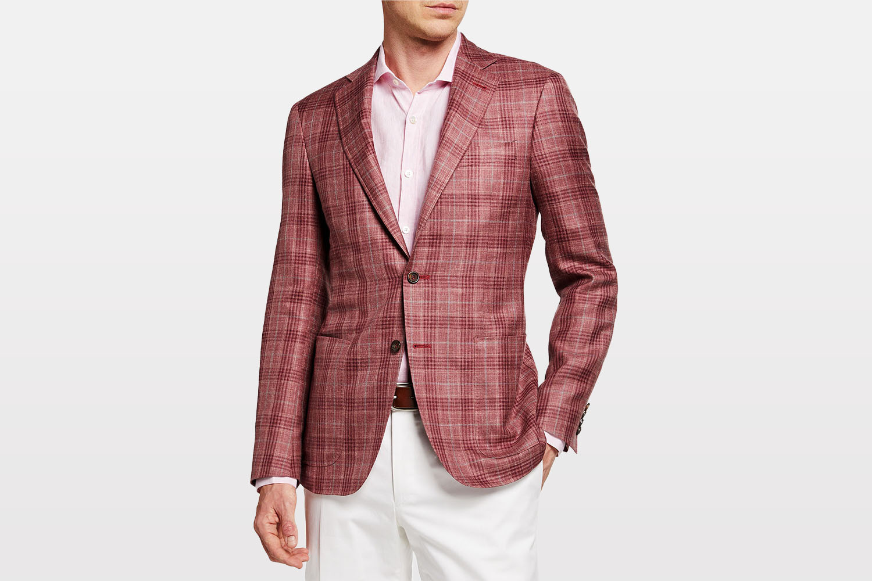 Canali Men's Washed Plaid Sport Jacket