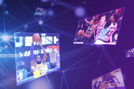 Floating NBA Top Shot NFTs of Lebron James and Kevin Durant playing basketball