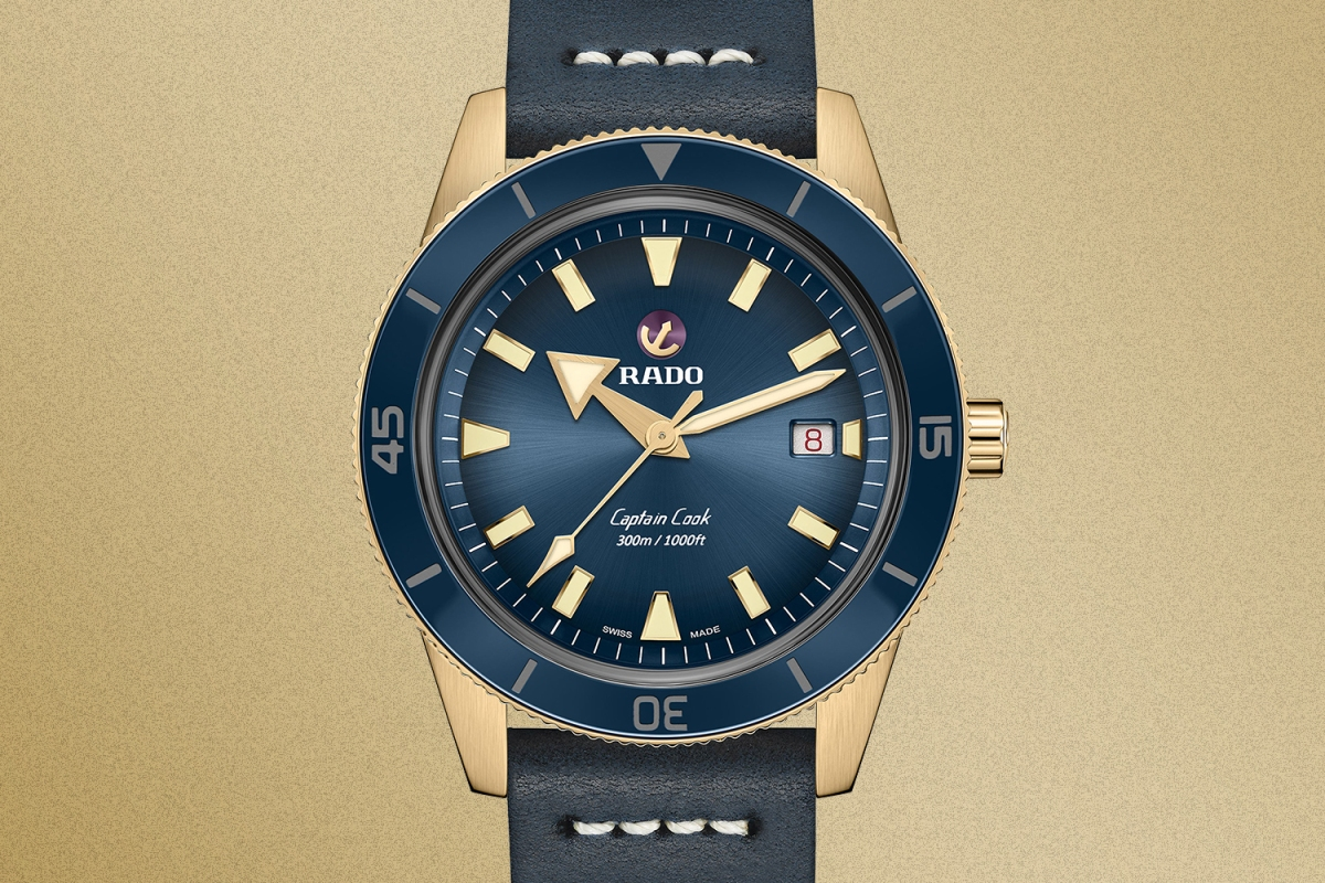 A close-up of the Rado Captain Cook Bronze watch in blue