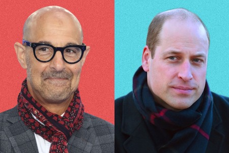side by side headshots of Stanley Tucci and Prince William