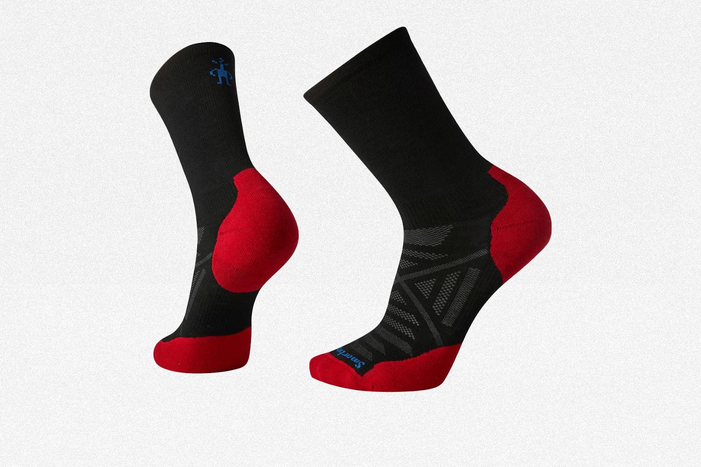 Smartwool PhD Run Light Elite Crew Socks in black and red