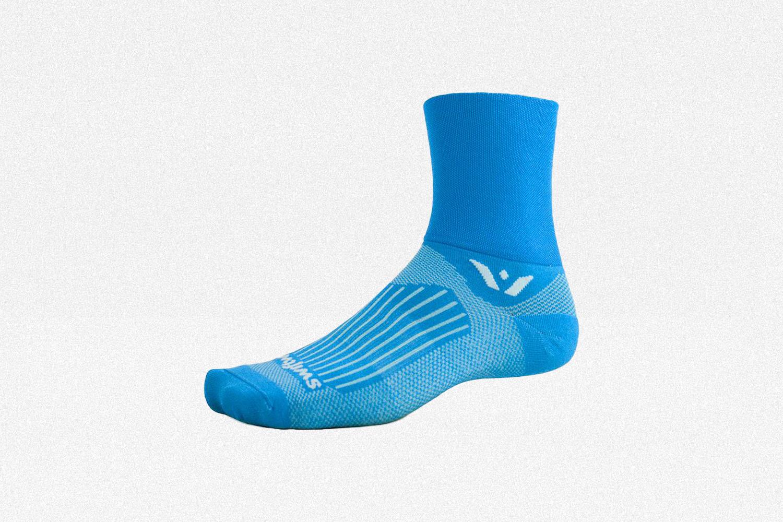 Swiftwick Aspire Four Running Sock in lagoon blue