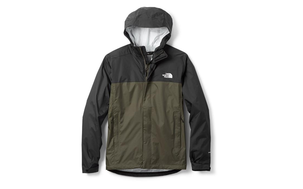 The North Face Venture 2 Rain Jacket in Black and Green