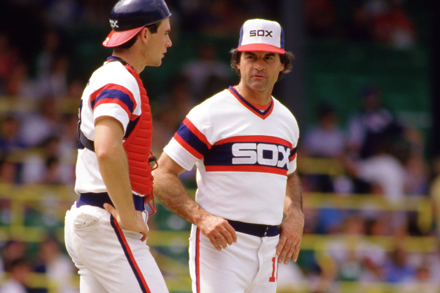 Manager Tony LaRussa of the Chicago White Sox looks on during an MLB game at Comiskey Park in Chicago, Illinois during the 1986 season