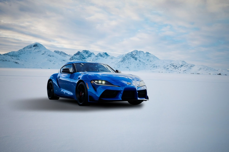 2021 Toyota Supra driving in winter