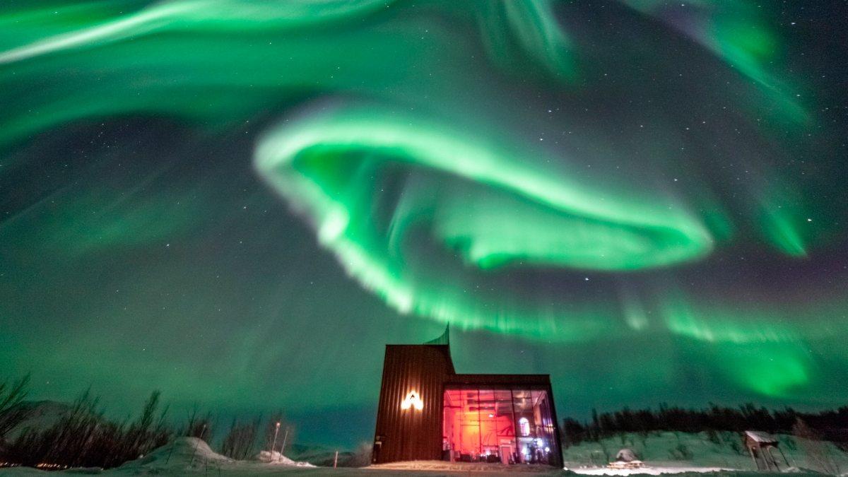 aurora distillery under the Northern Lights