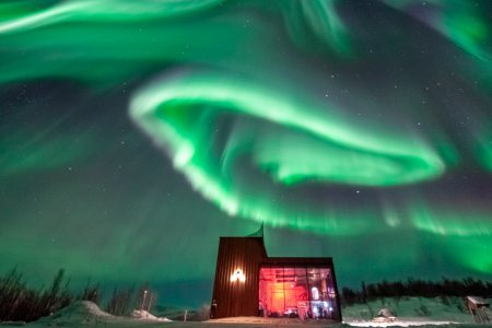 aurora distillery under the Northern Lights
