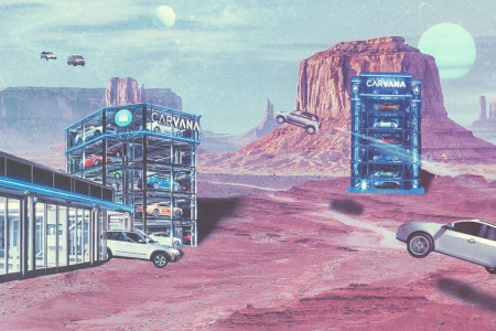 Carvana car vending machines in space on another planet with vehicles floating in the air