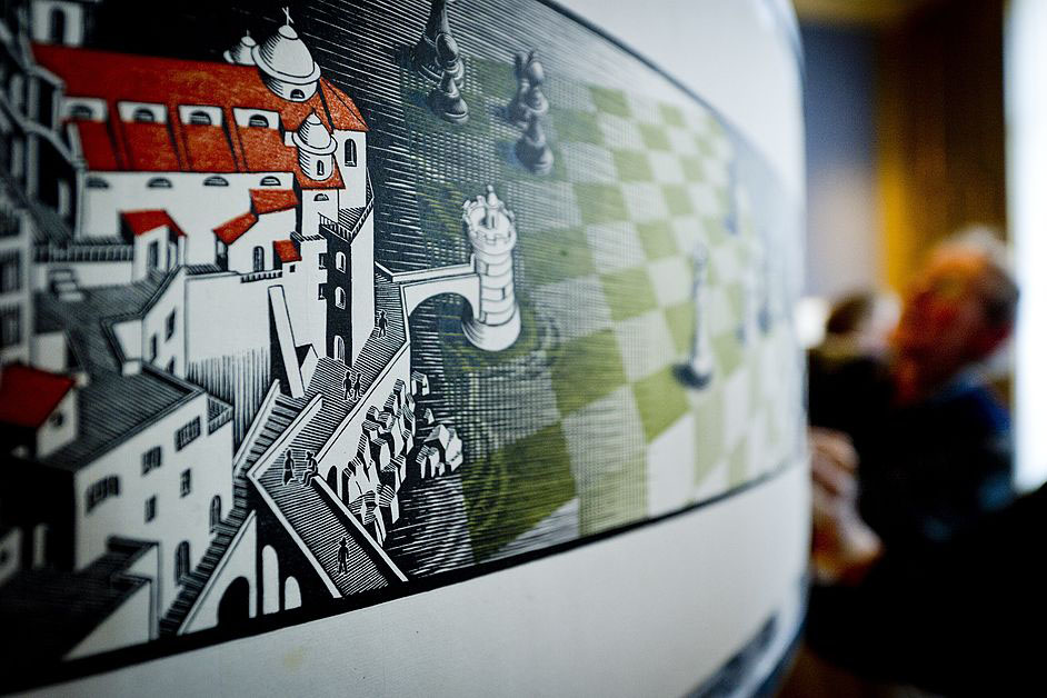 People install the artwork of graphic artist Maurits Cornelis Escher (1889-1972) 'Metamorphosis III' at the Museum Escher.