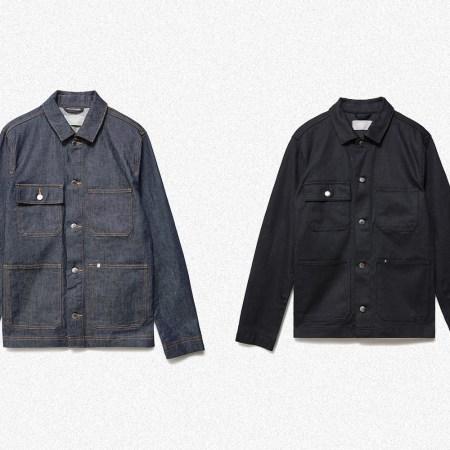 Everlane Denim Chore Jacket in Dark Indigo and Black