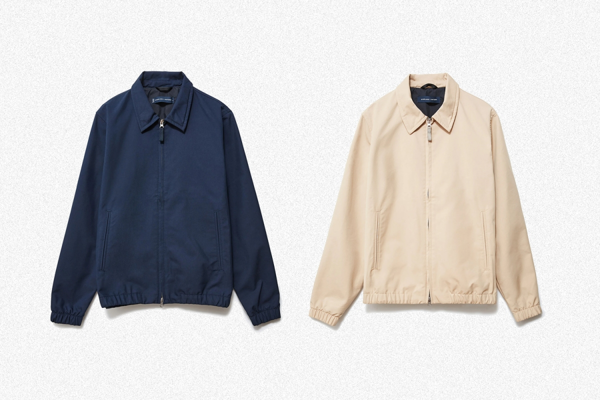 Everlane's Everyday Jacket in Navy and Khaki on a white background