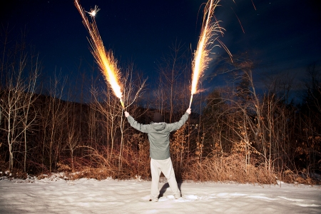 person holding fireworks in both hands