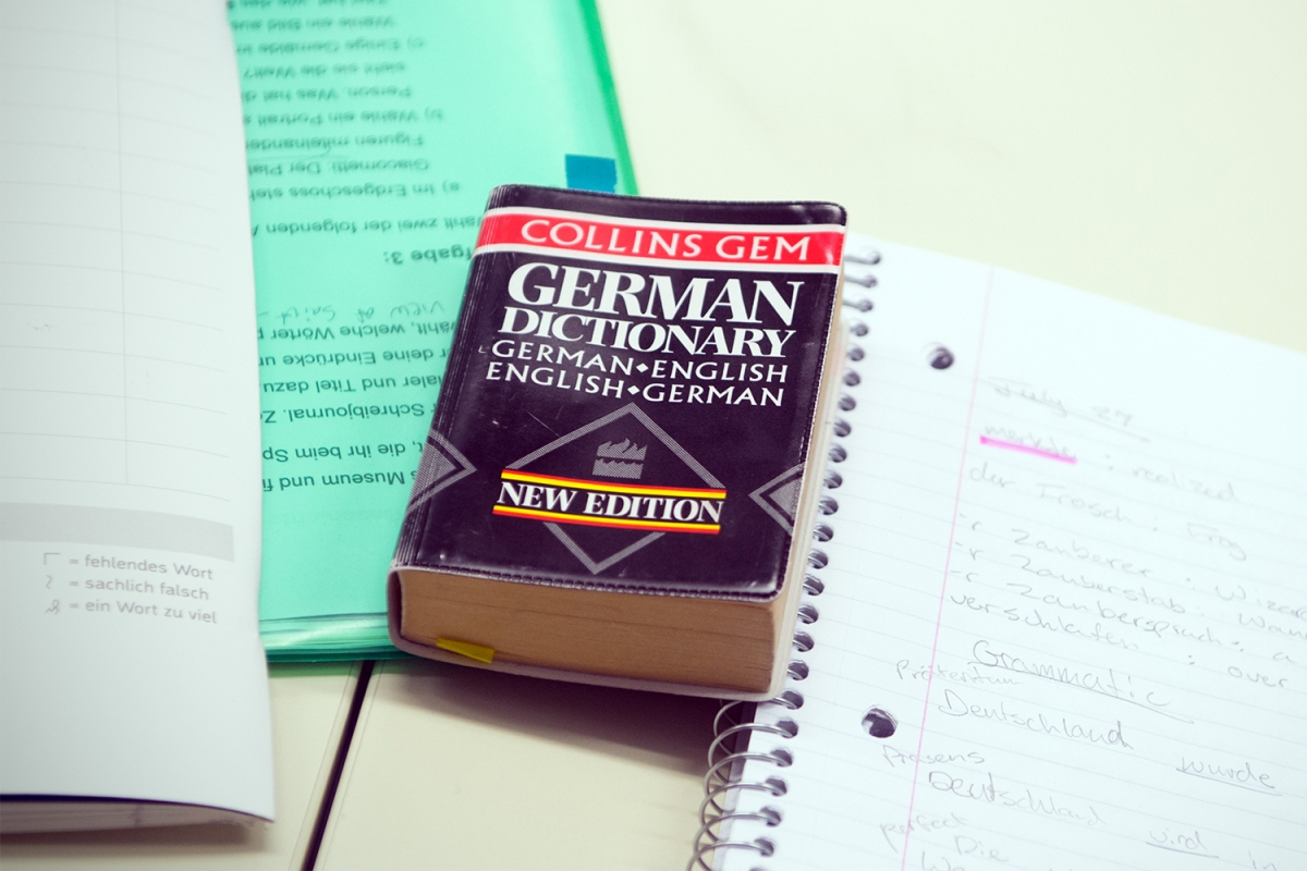 German dictionary on a table