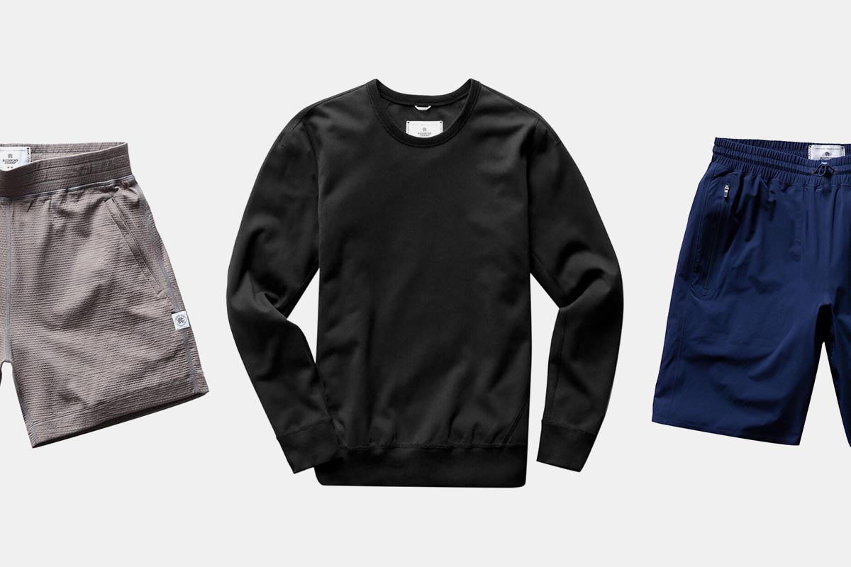 Men's shorts and a sweatshirt from activewear brand Reigning Champ