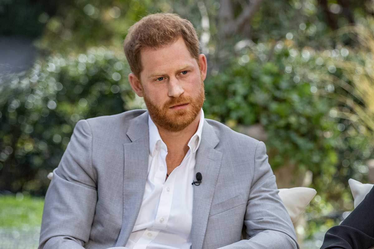 Prince Harry, seated during his March interview with Oprah Winfrey