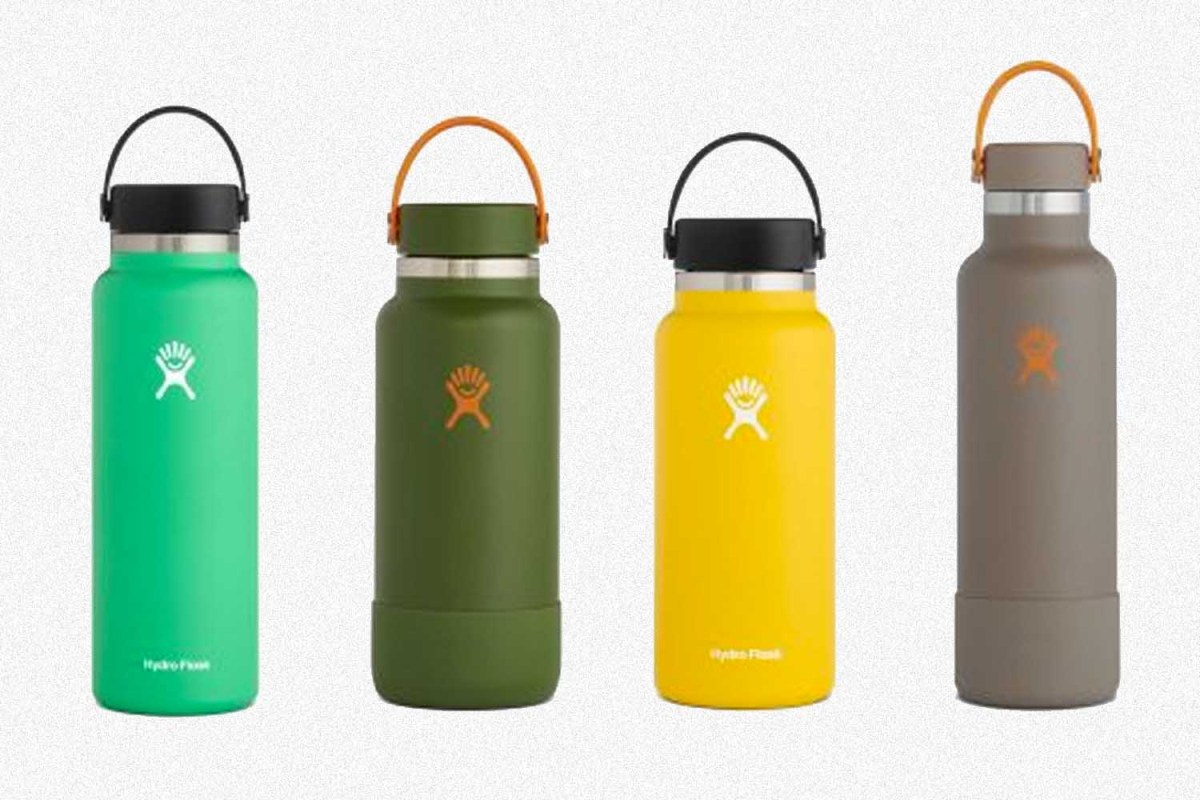 Hydro Flask bottles in green, yellow and brown