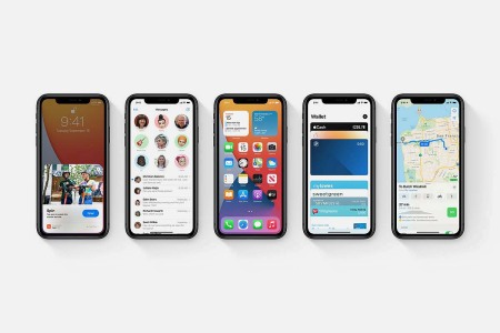 Five different iPhone screens running iOS 14