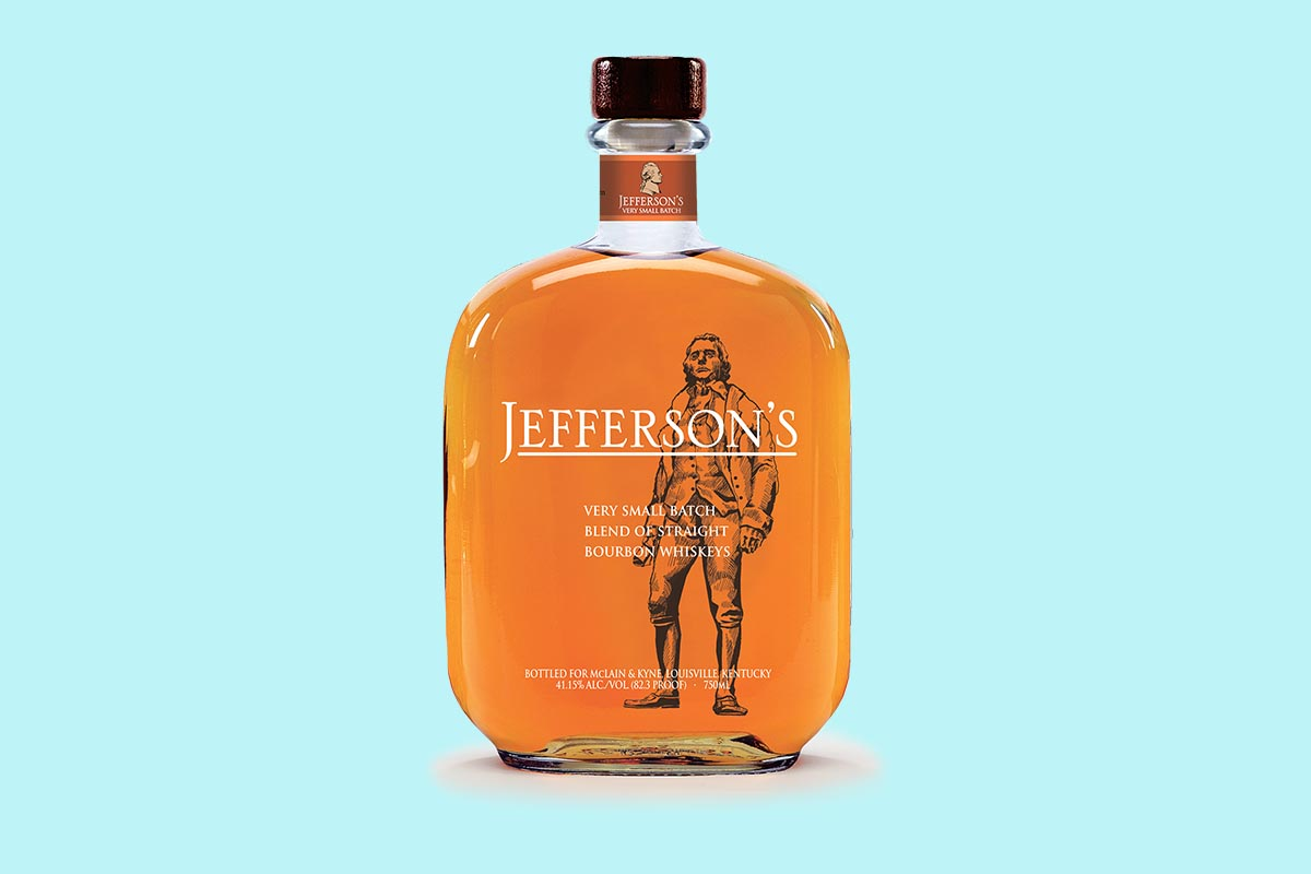 Closeup of a Jefferson's Very Small Batch bottle