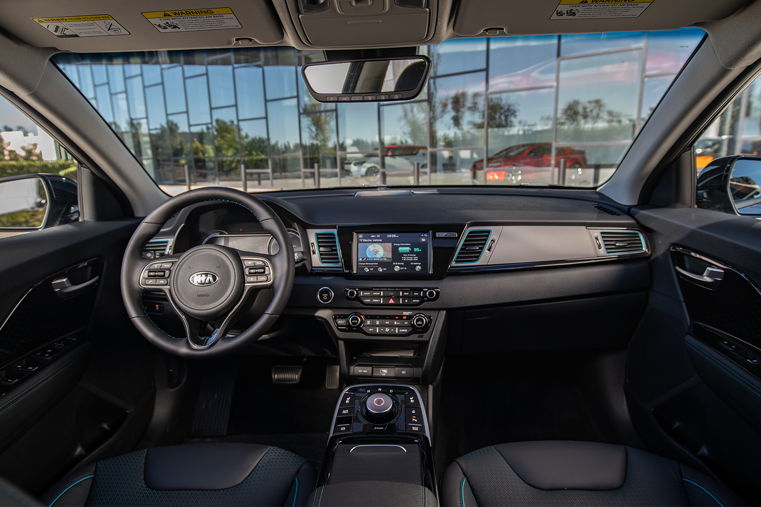 The view from the front seats of the Kia Niro EV, including the car's dashboard