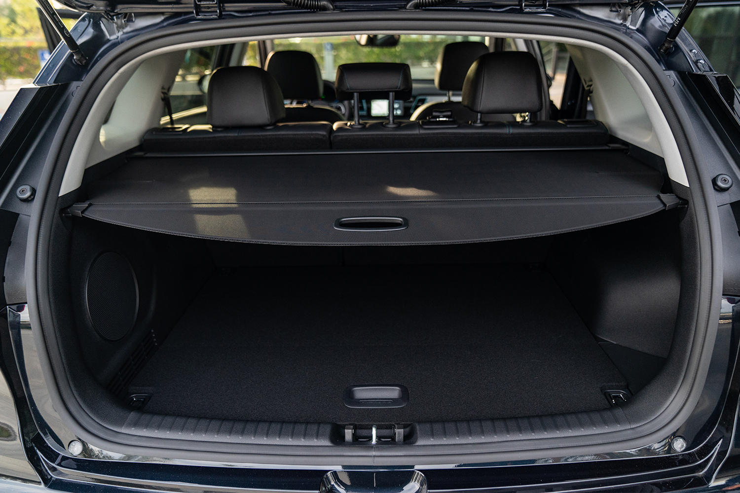 The trunk of the Kia Niro EV with the back door open