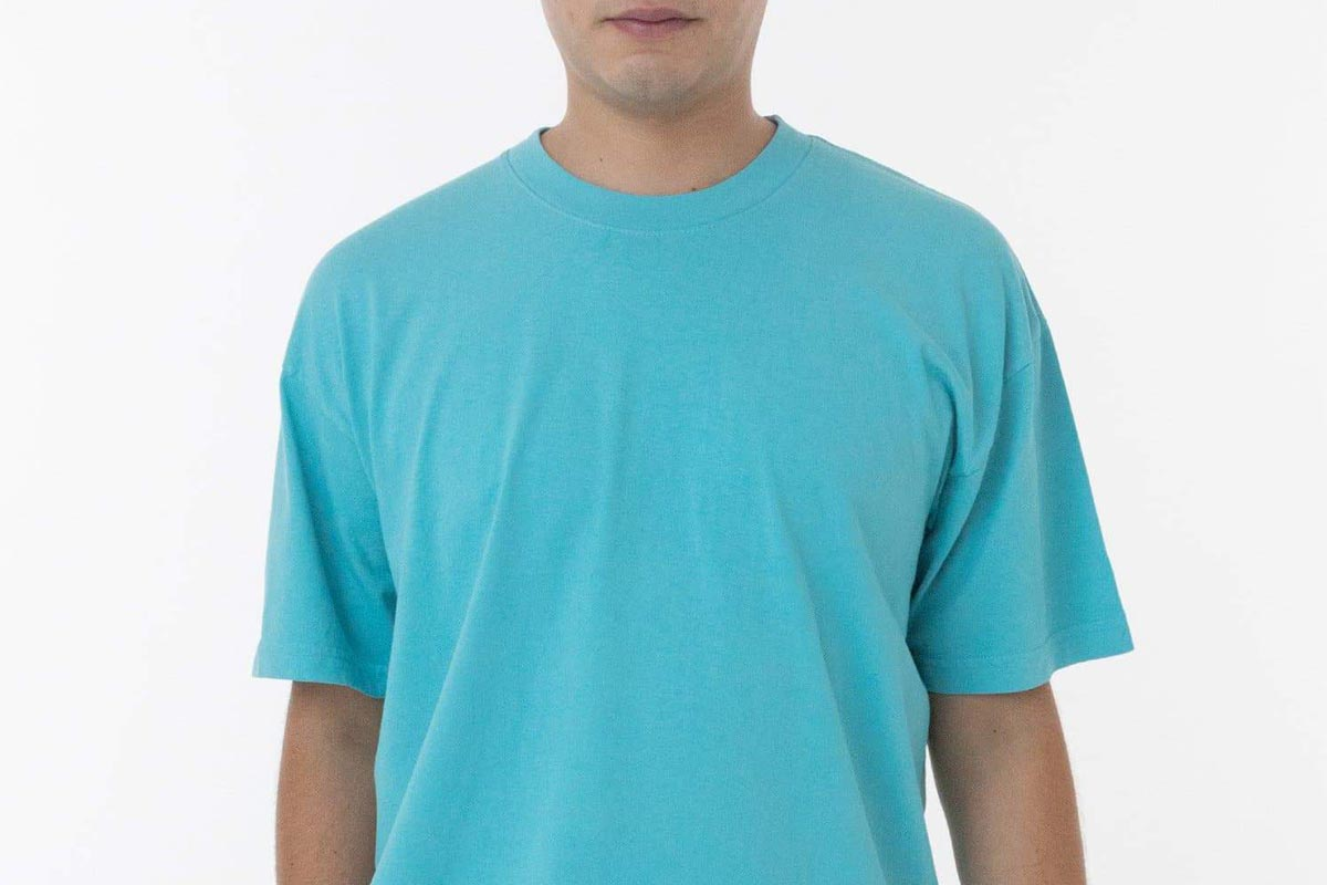 model in a Los Angeles Apparel Garment Dye Crew Neck from Los Angeles Apparel