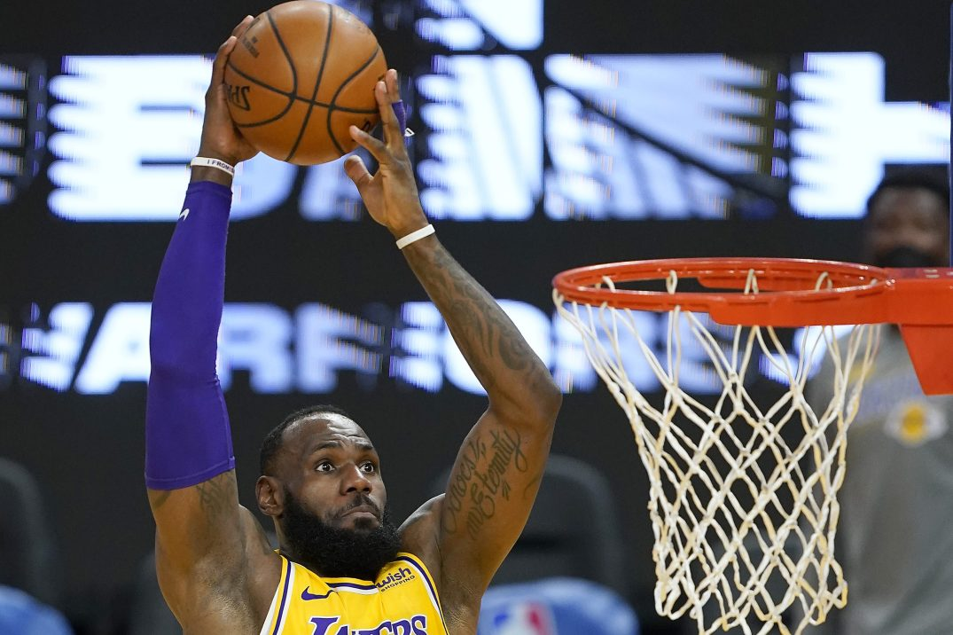 LeBron James of the Los Angeles Lakers goes up for a dunk