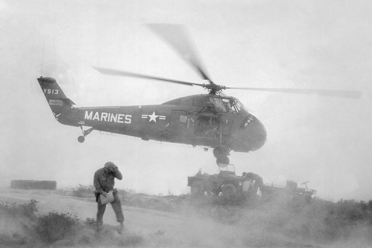 A Marine helicopter in Vietnam 1965