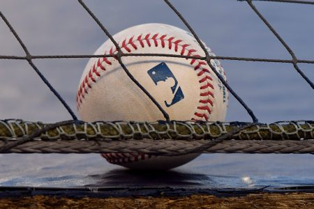 An official Rawlings Major League Baseball sitting on the ground behind a net.
