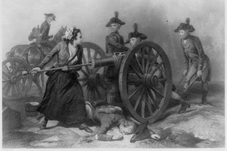 Revolutionary War hero Molly Pitcher arming a cannon in a black and white image