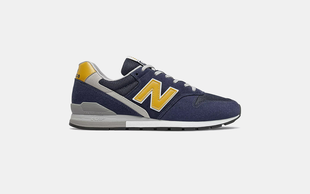 New Balance 996 in Pigment with Varsity Gold