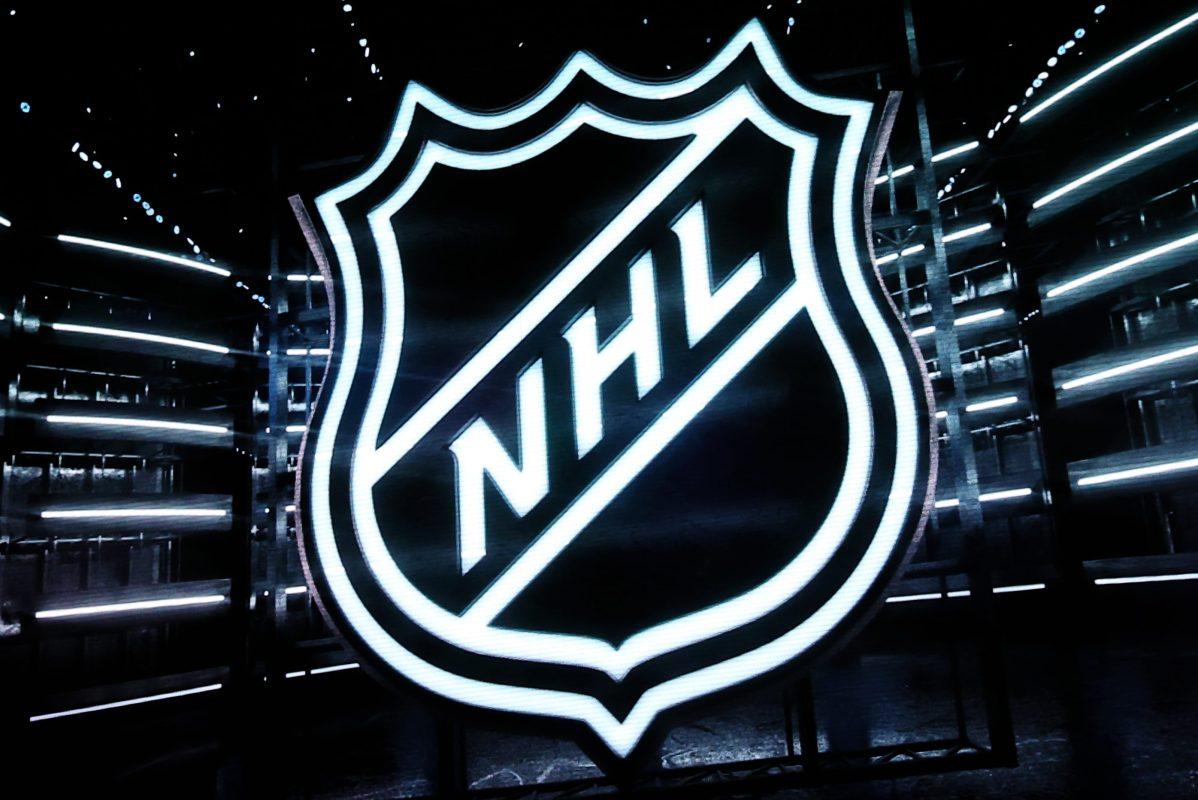 The NHL logo seen on a scoreboard.