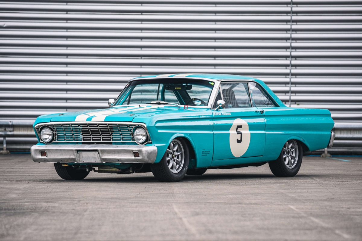 The turquoise 1964 Ford Falcon FIA race car owned by Rowan Atkinson