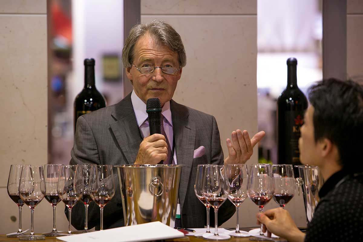 British wine expert Steven Spurrier joins global wine producers in attending Vinexpo Asia-Pacific 2014, held at the Hong Kong Convention & Exhibition Centre, on May 27, 2014, in Hong Kong, China