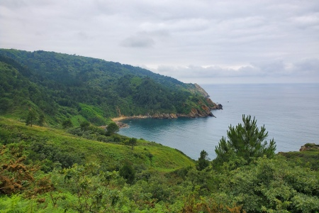 View of coastline in northern Spain from the Camino de Santiago trail