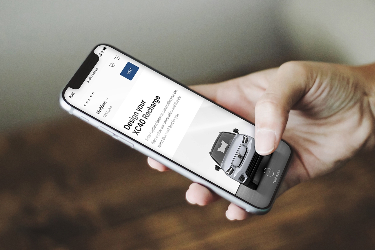 Buying a Volvo car on a smartphone