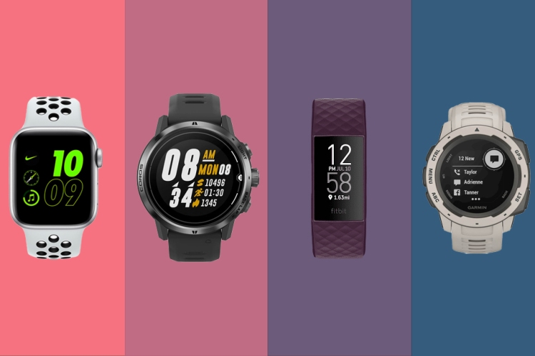 fitness trackers in different colors