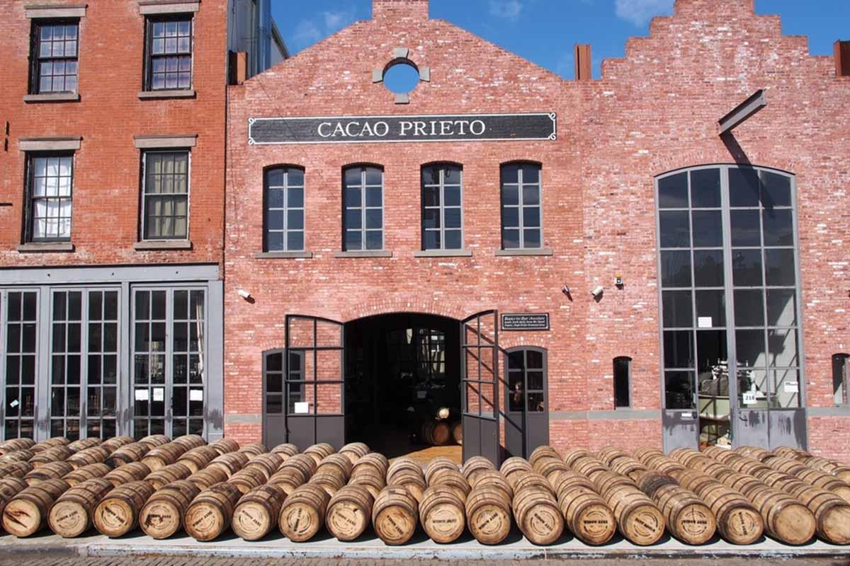 Barrels outside of Brooklyn's Widow Jane Distillery